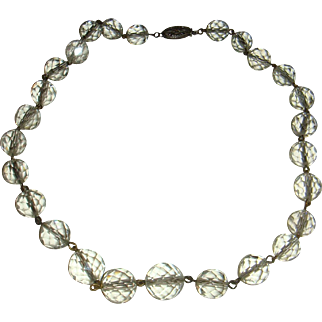 Sterling Silver and Rock Clear Crystal Faceted Glass Orb Necklace Choker