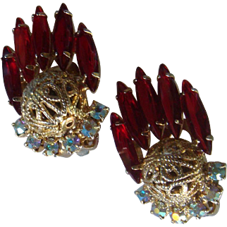 Juliana Clip Earrings Ruby Red Navettes, Aurora Borealis and Filigree Ball Book Piece