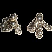 Early Napier Pat. Pending  Dangle Clip Earrings Big Silver Beads