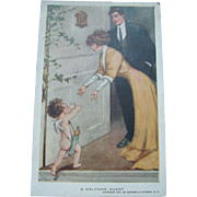 Bessie Pease Gutmann 1911 Postcard A Welcome Guest, Cupid and Lovely Couple