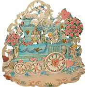 Large Die Cut Fold Out Pop Up Valentine Card Train, Roses, Hearts, Angels, Bluebirds, Hallmark