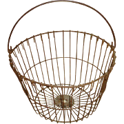 Large Metal Wire Egg Farm Basket Bail Handle Primitive