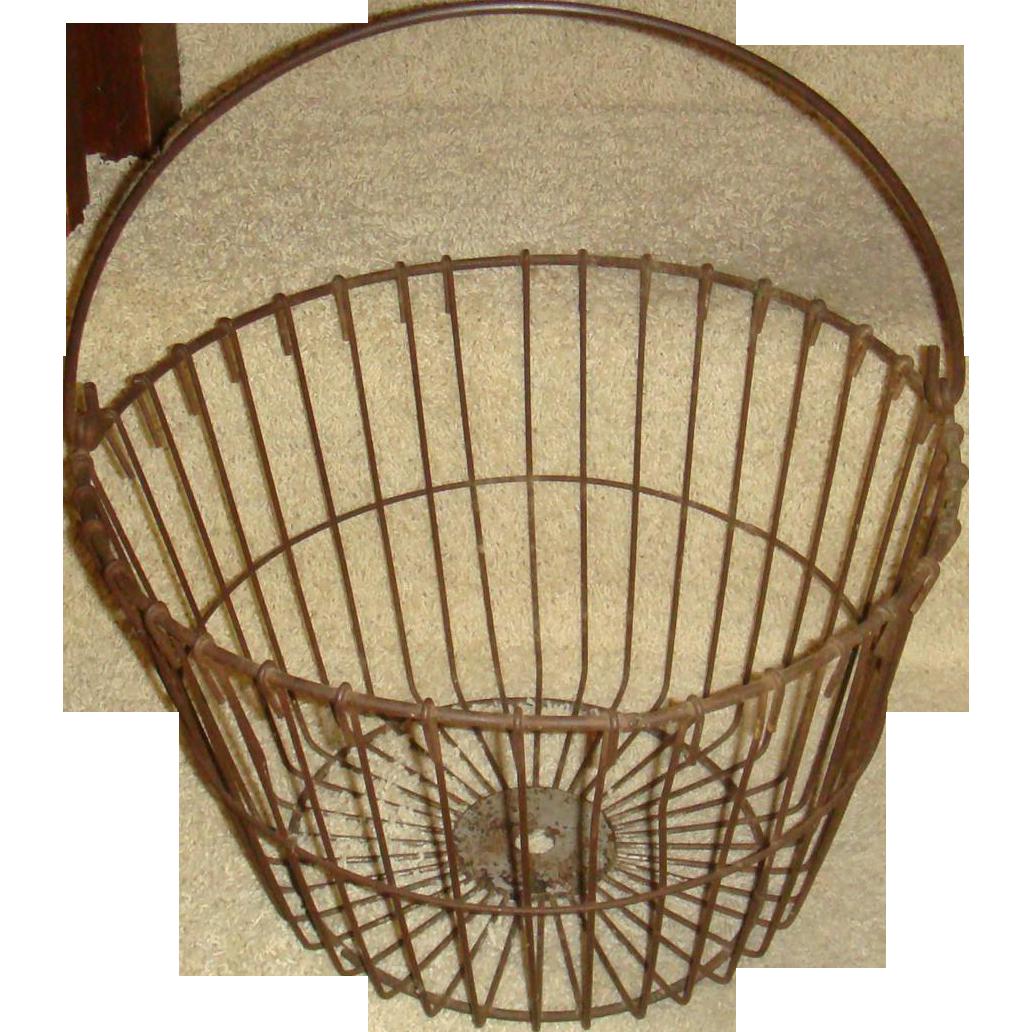 large metal wire egg farm basket bail handle primitive from loghomeantiques on ruby lane. Black Bedroom Furniture Sets. Home Design Ideas