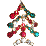 Prong Set Rhinestones Three Candle Christmas Tree Pin Brooch