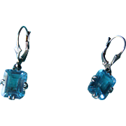 Emerald Cut Aqua or Topaz Blue Sterling Silver Filigree Lever Back Earrings 925 CMA Thailand