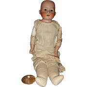 "Antique Germany A M 975 Bisque Kid Leather 21"" Doll with Cork Pate"