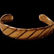 Taxco Mexico Sterling Silver Diagonal Design Cuff Bracelet TA-75