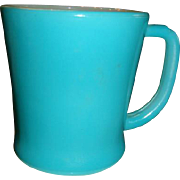 Fire King D Handle Mug Fired on Teal or Turquoise Blue Oven Ware