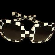 1957 Fashion Sunglasses Large Black White Checkerboard Design Like New