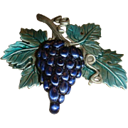 Jonette Jewelry Co. Enameled Grapes and Leaves Brooch