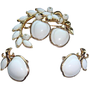 1954 Crown Trifari Patent Pending Alfred Philippe Mechanical Brooch Clip Earrings from White Apple Group Book Pieces