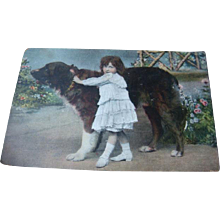 1908 Color Photo Postcard Little Girl and Her Huge Best Friend Dog
