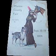 1914 Postcard Print 'Fair Comrades'  Lady With Her Horse and Dog Marion Co. Fair Centralia, IL