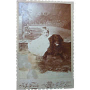 Early Cabinet Card Photo Little Child and Large Smiling  Dog, Evansville, IN, A. J. Fear