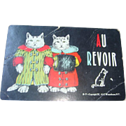 French Anthropomorphic Au Revoir Farewell Postcard Two Dressed Cats