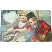 Early 1900's Dutch Children Fishing Postcard Valentine or Thinking of You