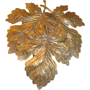 Art Nouveau Era Etched Metal  Maple Leaves Dimensional Coat or Dress Clip