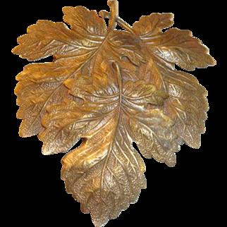 Art Nouveau Era Etched Metal  Maple Leaves Dimensional Coat or Dress Clip