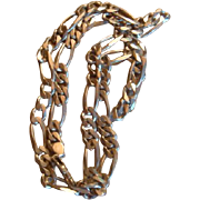 Vintage 1980's Men's or Ladies' Heavy Sterling Silver Figaro Chain Necklace Double Sided