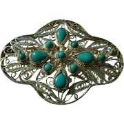 Vintage Sterling Silver Filigree Brooch with Turquoise Blue Stones