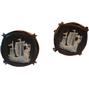 3 Ships Intaglio Cameo Cufflinks Vintage Cuff Links