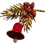 Signed Enameled ART Christmas Brooch Frosted Pine Needle Spray, Pine Cones and Berries, Mechanical Bell