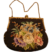 Micro Petit Point Evening Purse Handbag Repousse Frame Crown Closure KY Estate