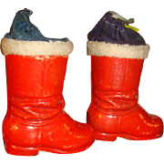 Pair of Christmas German Paper Mache Candy Containers Drawstring Top Santa's Boots Tree Ornament