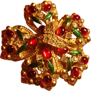Large Bow Brooch Christmas or Anytime Ruby Red Cabochons, Green Enamel, Pave Clear Rhinestones Marked A965