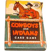 1949 Children's Card Game Complete in Box Cowboys and Indians Instructions