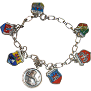 800 and 835 Silver Enamel European Travel Bracelet  7 Charms
