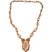 Art Deco Filigree Ormolu and Faceted Pale Pink Glass Crystal Choker Necklace
