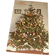 Early German Christmas Greeting Postcard Live Tree Candles, Glass Garland, Kugel, Herzliche  Weihnachtstsgrube Unused