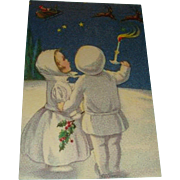 Snow Children Watch Santa and Reindeer Early German Postcard Unused