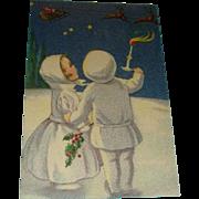 Snow Children Watch Santa and Reindeer Early German Postcard Unused