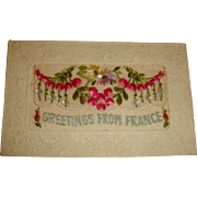 Highly Embossed Real Silk Fabric French Christmas Postcard