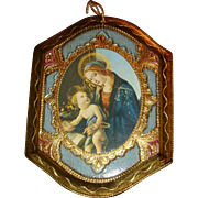 Florentine Italy Madonna and Child Famous Painting Christmas Ornament Plaque Gold Gesso Wood