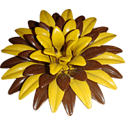 1960's Huge Enameled Dimensional Flower Power Brooch Autumn Colors Metallic