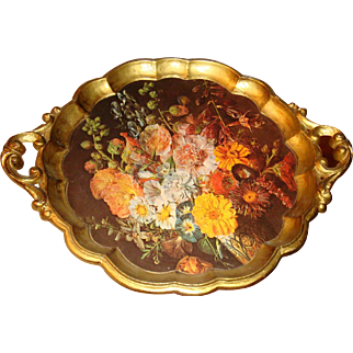 Florentine Gold Gesso Decorative Tray Or Decorative Art With Fall Flowers Made in Italy