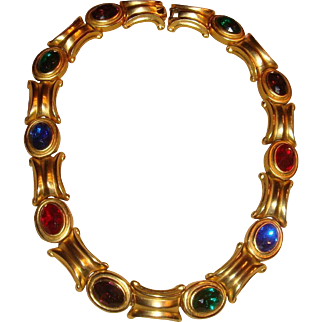 Les Bernard Egyptian Revival Brushed Gold Tone and Bold Colored Stones  Necklace