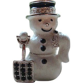 Glittery and Glitzy Snowman Pin with Black Rhinestones and Enameling
