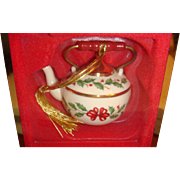 Vintage Lenox  Christmas Teapot Ornament  Original Box Holiday Pattern, Holly Leaves, Berries, Bow
