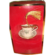 Lenox Holiday Pattern Vintage Teacup Tea Cup Ornament Gold Tassel Original Box