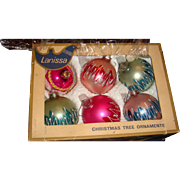 Vintage Shiny Brite Lanissa West Germany  Glass Christmas Ornaments, Glitter, Mica Original Box