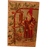 Early Embossed Christmas Postcard with Santa in Cranberry and Gold Robe, Silk Hat, Austrian