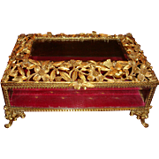 Rare Large Size Ornate Matson Gold Ormolu Casket, Beveled Glass, 1940's , Flowers, Leaves and Bird