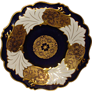 Large Ornate Weimar Porcelain Charger Gold Gilt Jutta Cobalt Blue Cabinet Plate Made in Germany