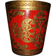 Florentine Italy  Orange Wooden and Gold Gesso Waste Basket, Trash Basket, Waste Can, Fleur de Lis, Hearts