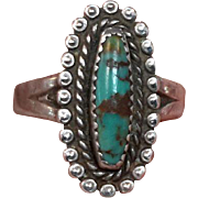 Native American Sterling Silver Bezel Set Beaded Turquoise Ring Southwestern Marked