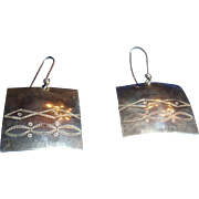 Sterling Silver Navajo Stamped  Hook Earrings Marked MH Southwestern